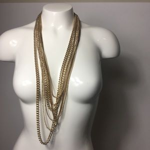 Necklace Goldtone multiple layered Chains
